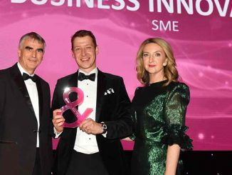 WFS Technologies commercial director, Moray Melhuish (centre), is presented with the Oil & Gas UK Business Innovation award by BBC journalist Victoria Derbyshire and Jean-Luc Guiziou, of Total
