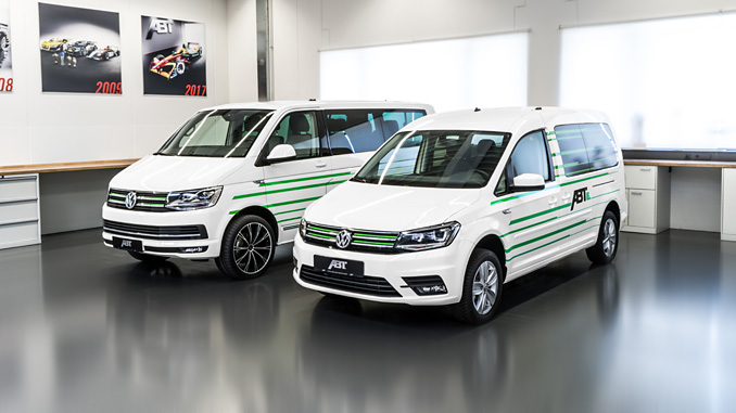 At left, the ABT e-Transporter with the ABT e-Caddy