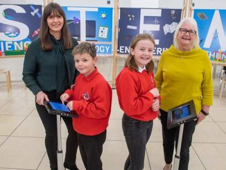 From left, Jill Glennie, director of external affairs at OPITO; Ain Gibson and Grace Milne, P6 pupils from Whitehills School; and Liz Hodge, Aberdeen Science Centre