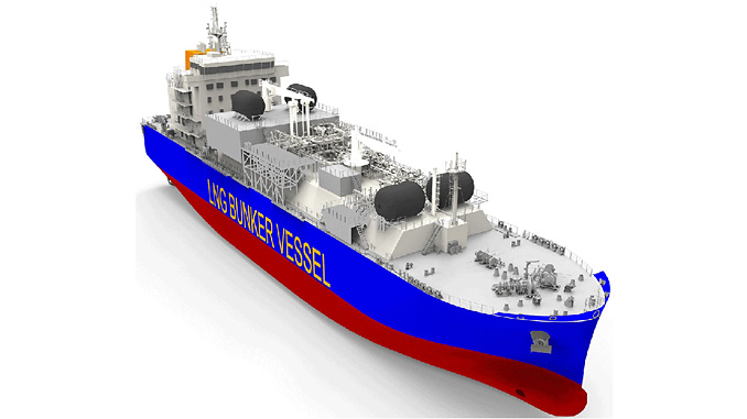 3D rendering of the future LNG bunkering vessel (illustration: DR)