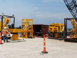 Multiple Flow Access Modules awaiting deployment quayside in Gulf of Mexico