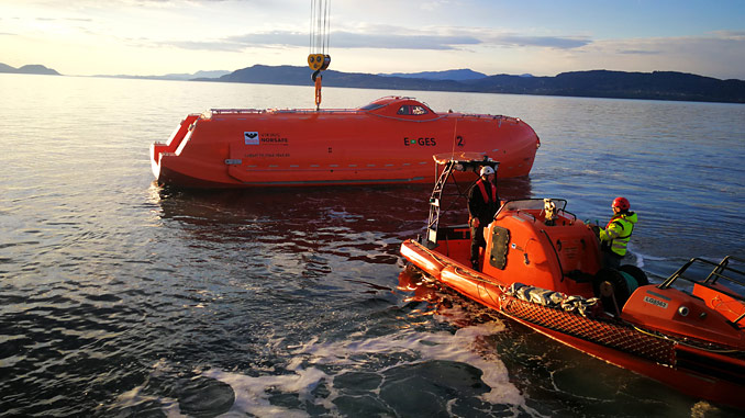 Built in compliance with DNV GL-ST-E406, the VIKING Norsafe E-GES development is in the final test phase at VIKING's direct ocean-access premises in Arendal, Norway