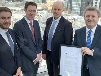 WaveRoller certificate presented to AW-Energy at the offices of Lloyd's Register