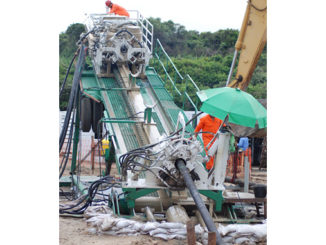 Horizontal drill rig at 16 degrees
