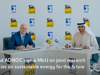 Eni's CEO, Claudio Descalzi, and H.E. Dr Sultan Ahmed Al Jaber, UAE Minister of State and Abu Dhabi National Oil Company (ADNOC) Group CEO (photo: Eni)