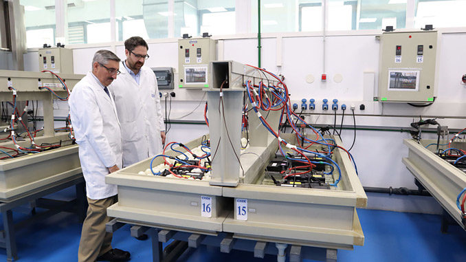 Exide's research and development laboratory near Madrid, Spain uses cutting-edge research to produce the next generation of advanced lead batteries – from left, Dr Alistair Davidson, CBI, and Dr Francisco Trinidad, Exide (photo Exide)