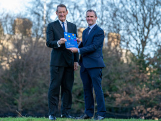 At left, Ian Russell, chairman of the Infrastructure Commission for Scotland (ICS) presenting Michael Matheson, Cabinet Secretary for Transport, Infrastructure and Connectivity with the ICS's Report