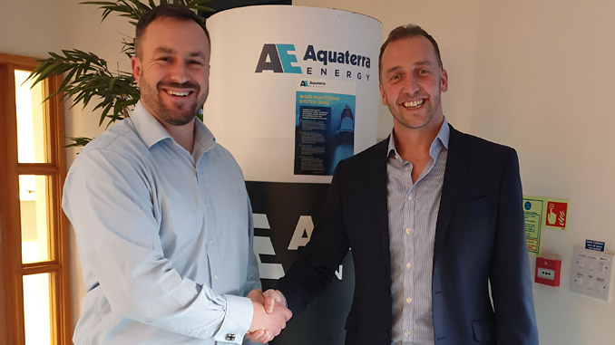 From left, Leigh Martin, Senior Manager, Oceaneering, and James Larnder, Aquaterra Energy Managing Director