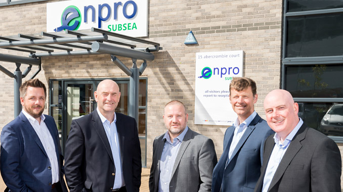 Enpro Subsea directors – from left, Craig McDonald, Ian Donald, Steve Robb, Neil Rogerson and Tom Bryce