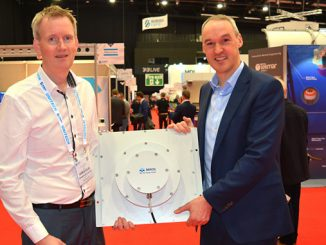 Jonas Røstad, Miros COO, with Phil Middleton, Seatronics Group MD, securing new agreement at Subsea Expo 2020