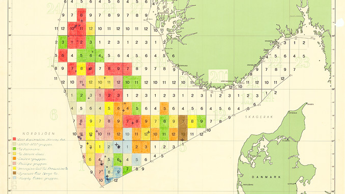 55 years on, the Norwegian Continental Shelf still holds potential – detail from a 1965 map of licences (source: NPD)