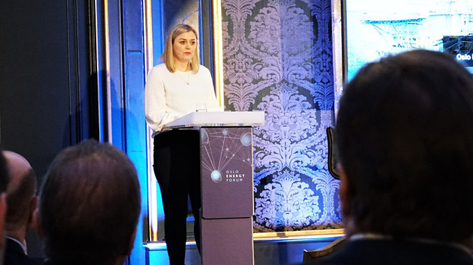 Minister of Petroleum and Energy, Tina Bru, presents her take on the future of the oil and gas industry at the Oslo Energy Forum (photo: OED/Peder Qvale)