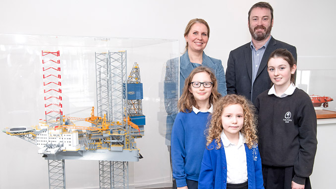 Maja Kildedal, head of innovation & improvement for Equinor UK and Ireland, and Bryan Snelling, CEO of Aberdeen Science Centre are pictured at Equinor House in Aberdeen with pupils from the winning schools – Fergus Skolnik (Gilcomstoun School), Rowan Cuthill (Cults Primary) and Erin Macleod (Methlick School)