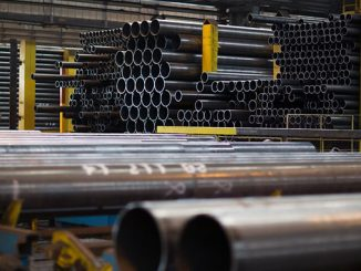 Line pipe at Tata Steel's 20-inch Mill in Hartlepool, England
