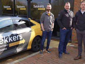 Tek deal: from left, Tekkers IT Solutions founder Pete Matheson, Dynamic Edge CEO Rob Hamilton, and Stuart Winterburn, the Aberdeen-based managing director of Dynamic Edge