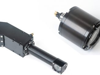 From left, DragonFish underwater laser measurement and Eagle IP Underwater ethernet camera