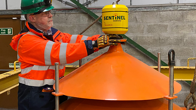 Dr Andrew Jaffrey, Chief Technology Officer at Sentinel Subsea, with the SWIFT technology prototype (photo: Sentinel Subsea)