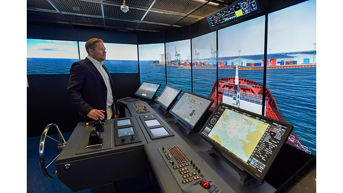 The Wärtsilä navigation simulator is an essential enabler in the ISTLAB project aimed at creating a testing environment for smart autonomous vessels (photo: SAMK/Pekka Lehmuskallio)
