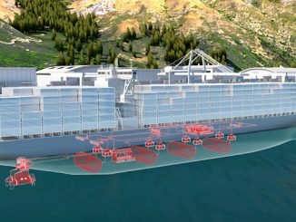 Concept rendering of a large vessel powered by fuel cells (illustration: ABB)
