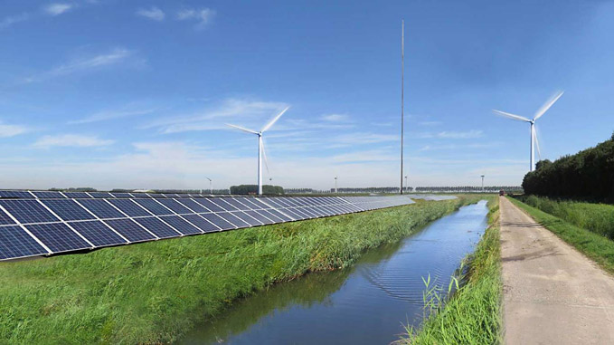 Vattenfall is building a new hybrid energy park, consisting of solar panels, wind turbines and batteries at Haringvliet in the Netherlands