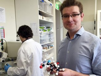 Associate Professor Justin Chalker at his Flinders University organic chemistry laboratory