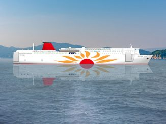 The new MOL ferries will operate with the Wärtsilä 31DF engine running on LNG fuel – Wärtsilä will also supply the gearbox and the LNGPac, fuel storage, supply and control system (illustration: Mitsui O.S.K. Lines)