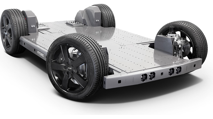 The REEcorner™ architecture solution integrates all drivetrain vehicle components (steering, braking, suspension, e-motor) into the wheel