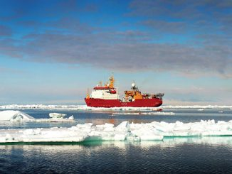 The Royal Navy polar research vessel 'HMS Protector' is equipped with seven davits from Vestdavit