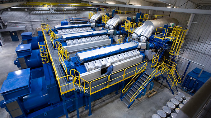Wärtsilä 34SG generating sets in an engine hall