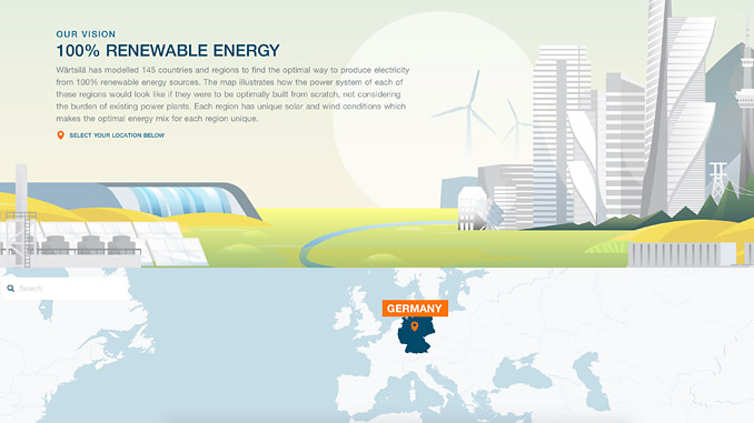 Wärtsilä's interactive map Atlas of 100% Renewable Energy provides valuable information on the potential of renewable energy in relation to geographical regions and their solar and wind conditions