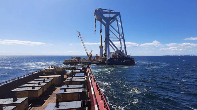 First foundation installation at the Kriegers Flak Offshore Wind Farm, located in the Baltic Sea, 15 to 40 kilometres off the Danish coast