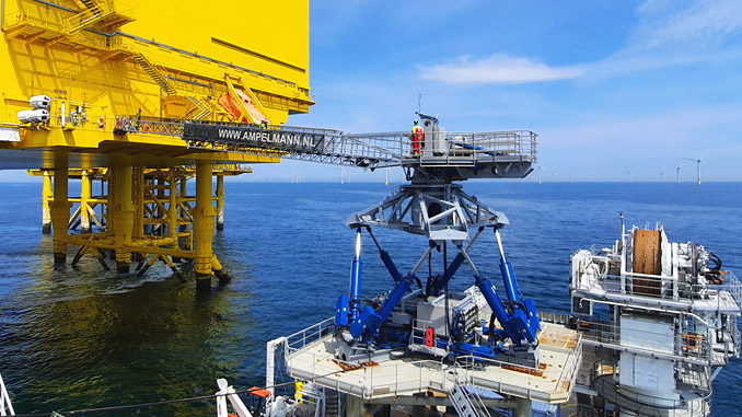 The Ampelmann E1000 system enabling safe personnel transfers in the North Sea
