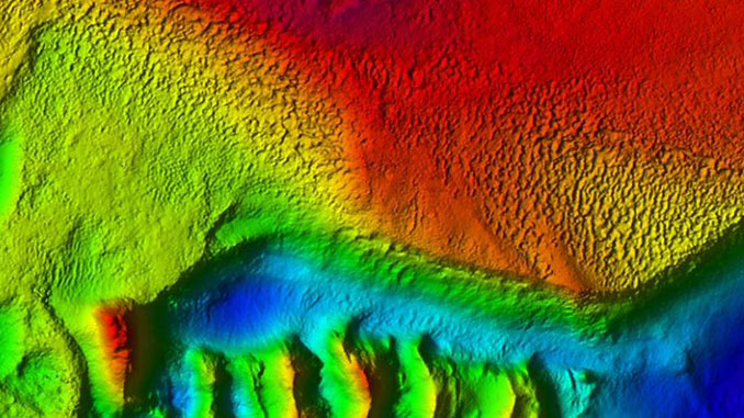 Bathymetry showing a possible erosional surface with a hard-rugged seabed