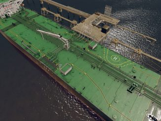 K-Sim Cargo handling simulator with visual display of the deck of a generic crude oil tanker model