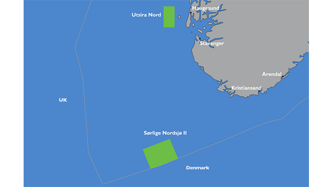 The Ministry of Petroleum and Energy open Utsira Nord og Sørlige Nordsjø II areas for offshore renewable energy licencing (illustration: NVE)