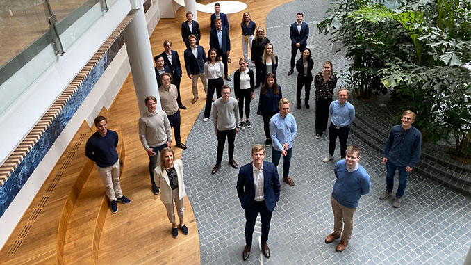 Keeping a one-metre distance, students filled Rystad Energy's Oslo headquarters