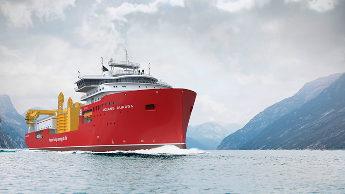 Artist's rendering of Nexans Norway's cable-laying vessel 'C/S Aurora', currently under construction at Norwegian yard Ulstein Verft – GIEK is also helping to finance the vessel