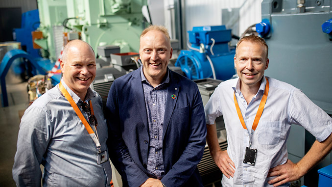The project leaders at the Sustainable Energy Catapult Centre's test facility at Stord, Norway – from left: Egil Hystad, Wärtsilä; Willy Wågen, Sustainable Catapult; and Kjell Storelid, Wärtsilä