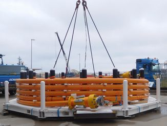 Six-inch flexible TCP Jumper on subsea pallet ready for deployment in deepwater offshore Nigeria (photo: Airborne Oil & Gas)