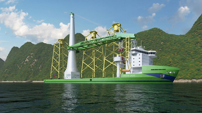The new CDWE wind farm main installation vessel will operate with a broad scope of Wärtsilä solutions (illustration: CDWE)