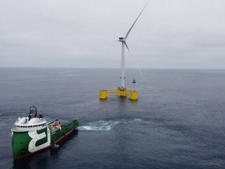 Windfloat turbine being positioned