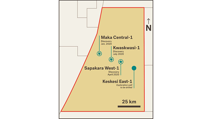 A fourth exploration prospect in Block 58, Keskesi East-1, will be drilled immediately following conclusion of operations at Kwaskwasi (illustration: Apache Corp.)