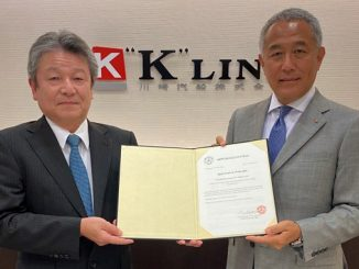 "From left, ClassNK, Senior Executive Vice President, Dr Toshiyuki Shigemi, and ""K"" LINE, Vice President Executive Officer, Atsuo Asano"