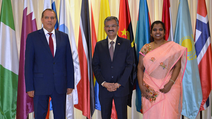 From left, HE Sentyurin, HE Mittal, and Ms Premalath at the GECF Secretariat in Doha, Qatar