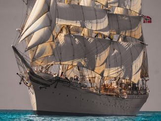Tall ship 'Statsraad Lehmkuhl', of which Kongsberg Maritime in a long-term sponsor, will sail around the world as part of the One Ocean project to promote and research global sustainability (photo: Sprint.Film)