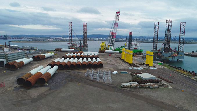 Turbine pre-assembly will take place at Able Seaton Port creating 120 jobs