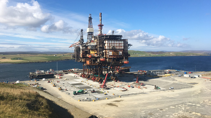 The 14,200 tonne Ninian Northern topside at Peterson's base in Shetland
