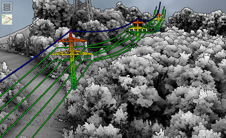 LiDAR data: Gathering large scale spatial data that models the environment, conductors, poles, trees, buildings in 3D, and enables fact-based vegetation analysis