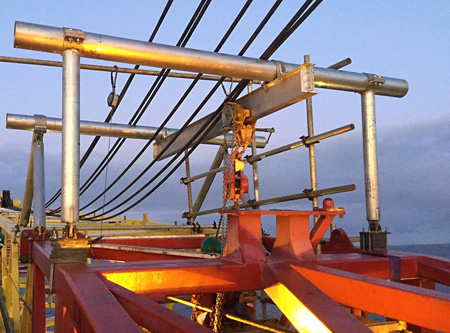 Frame on the boom – light enough to make sure the technicians on site could lift the frame into place