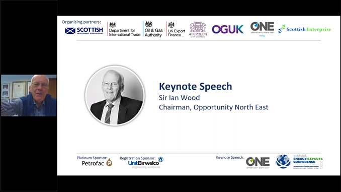 Sir Ian Wood KT GBE, Chairman of Opportunity North East, officially opened the event in the Opening Plenary